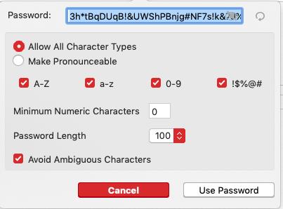 اختيار كلمة المرور Password